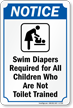 Swim Diapers Required Pool Rule Sign