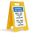 Swimming Pool Hours Custom Standing Floor Sign