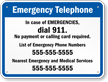 Tennessee Custom Emergency Telephone Sign