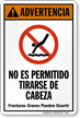 Advertencia No Es Permitido Tirarse De Cabeza Spanish Sign