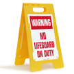 Warning No Lifeguard On Duty Floor Sign