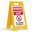 Warning No Lifeguard On Duty No Diving Floor Sign