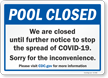 We Are Closed Until Further Notice Pool Closed Sign