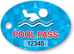 Pool Pass Swimmer Tag In Oval Shape