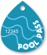 Pool Passes In Water Drop Shape, Blue Swirls