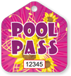 Pool Pass In Pentagon Shape, Flowers Print