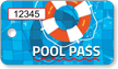 Pool Pass In Rectangular Shape, Lifesaver Print