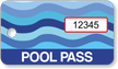 Pool Pass Blue Water Waves Tag, Rectangular Shape