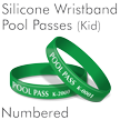 Ink-Filled Debossed Silicone Wristband Pool Passes