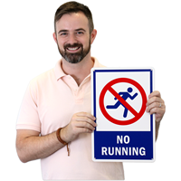 No Running With Graphic Pool Sign
