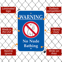 Warning No Nude Bathing Swimsuit Signs with Symbol