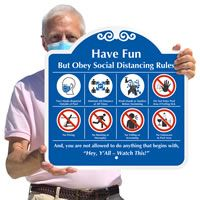 Social distancing sign for your pool