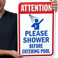 Attention Shower Before Entering Pool Sign