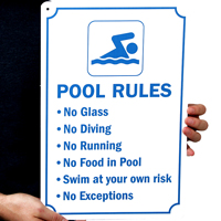 No Glass No Diving No Running No Food In Pool Swim Sign
