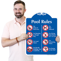 pool rules signs with graphics