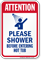 Attention, Shower Before Entering Hot Tub Sign