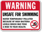 Warning Unsafe For Swimming Pool Sign