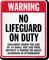California No Lifeguard On Duty Pool Sign