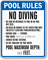 Custom Florida No Diving Pool Rules Sign