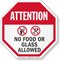 No Food Or Glass Allowed Attention Sign