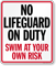 No Lifeguard On Duty Sign for South Carolina