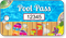 Pool Pass In Rectangular Shape, Colorful Flip Flops